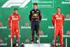 MEXICO CITY, MEXICO - OCTOBER 28:  Top three finishers Max Verstappen of Netherlands and Red Bull Racing (1st) Sebastian Vettel of Germany and Ferrari (2nd) and Kimi Raikkonen of Finland and Ferrari (3rd) celebrate on the podium during the Formula One Grand Prix of Mexico at Autodromo Hermanos Rodriguez on October 28, 2018 in Mexico City, Mexico.  (Photo by Mark Thompson/Getty Images)
