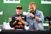 MEXICO CITY, MEXICO - OCTOBER 28: Race winner Max Verstappen of Netherlands and Red Bull Racing celebrates with DJ Armin van Buuren on the podium during the Formula One Grand Prix of Mexico at Autodromo Hermanos Rodriguez on October 28, 2018 in Mexico City, Mexico.  (Photo by Clive Mason/Getty Images)