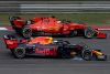 SHANGHAI, CHINA - APRIL 14: Sebastian Vettel of Germany driving the (5) Scuderia Ferrari SF90 and Max Verstappen of the Netherlands driving the (33) Aston Martin Red Bull Racing RB15 on track during the F1 Grand Prix of China at Shanghai International Circuit on April 14, 2019 in Shanghai, China. (Photo by Charles Coates/Getty Images)