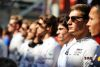 George Russell (GBR) Williams Racing as the grid observes the national anthem.