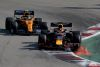 SOCHI, RUSSIA - SEPTEMBER 29: Max Verstappen of the Netherlands driving the (33) Aston Martin Red Bull Racing RB15 leads Lando Norris of Great Britain driving the (4) McLaren F1 Team MCL34 Renault on track during the F1 Grand Prix of Russia at Sochi Autodrom on September 29, 2019 in Sochi, Russia. (Photo by Charles Coates/Getty Images)