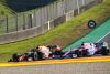 Alexander Albon, Red Bull Racing RB16, battles with Sergio Perez, Racing Point RP20