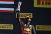 SCARPERIA, ITALY - SEPTEMBER 13: Third placed Alexander Albon of Thailand and Red Bull Racing celebrates on the podium during the F1 Grand Prix of Tuscany at Mugello Circuit on September 13, 2020 in Scarperia, Italy. (Photo by Mark Thompson/Getty Images) // Getty Images / Red Bull Content Pool  // SI202009130242 // Usage for editorial use only //