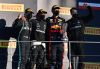 SCARPERIA, ITALY - SEPTEMBER 13: Race winner Lewis Hamilton of Great Britain and Mercedes GP, second placed Valtteri Bottas of Finland and Mercedes GP and third placed Alexander Albon of Thailand and Red Bull Racing celebrate on the podium during the F1 Grand Prix of Tuscany at Mugello Circuit on September 13, 2020 in Scarperia, Italy. (Photo by Miguel Medina - Pool/Getty Images) // Getty Images / Red Bull Content Pool  // SI202009130309 // Usage for editorial use only //