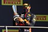 SCARPERIA, ITALY - SEPTEMBER 13: Third placed Alexander Albon of Thailand and Red Bull Racing celebrates on the podium during the F1 Grand Prix of Tuscany at Mugello Circuit on September 13, 2020 in Scarperia, Italy. (Photo by Mark Thompson/Getty Images) // Getty Images / Red Bull Content Pool  // SI202009130324 // Usage for editorial use only //